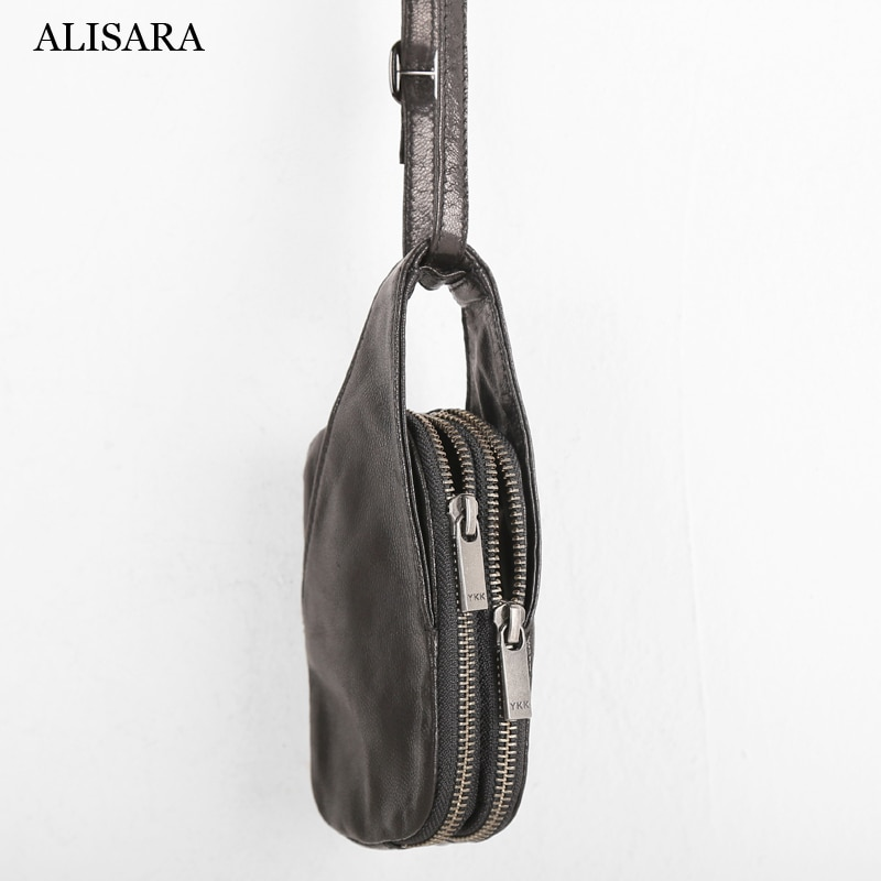 Alisara Mini Satchels First Layer Cow Leather High Quality Small Hang Neck Storage Pack Coin Purses Key Bag Card Pouch Unisex