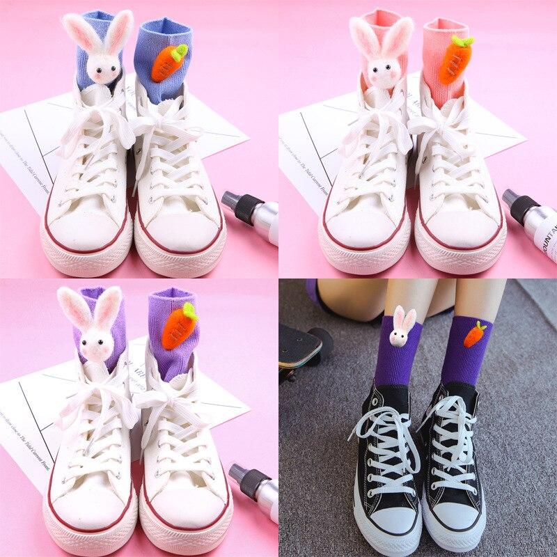 Meias de algodão feminino coelho cenoura boneca designer doce bonito alta qualidade harajuku kawai adorável menina presente feliz engraçado meias