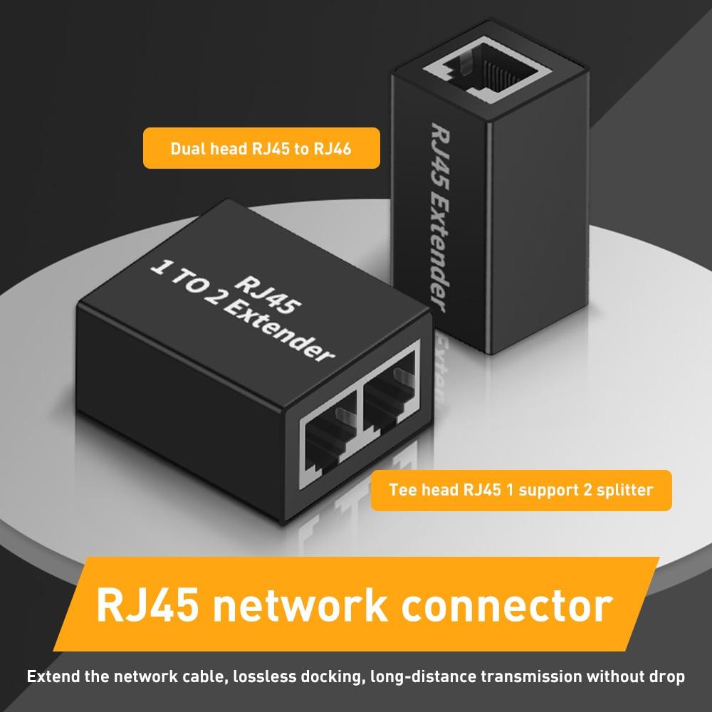 RJ45 Network Splitter Adapter Extender Extension Converter Ethernet LAN Connector Head for Ethernet Cable CAT5E CAT6 CAT8