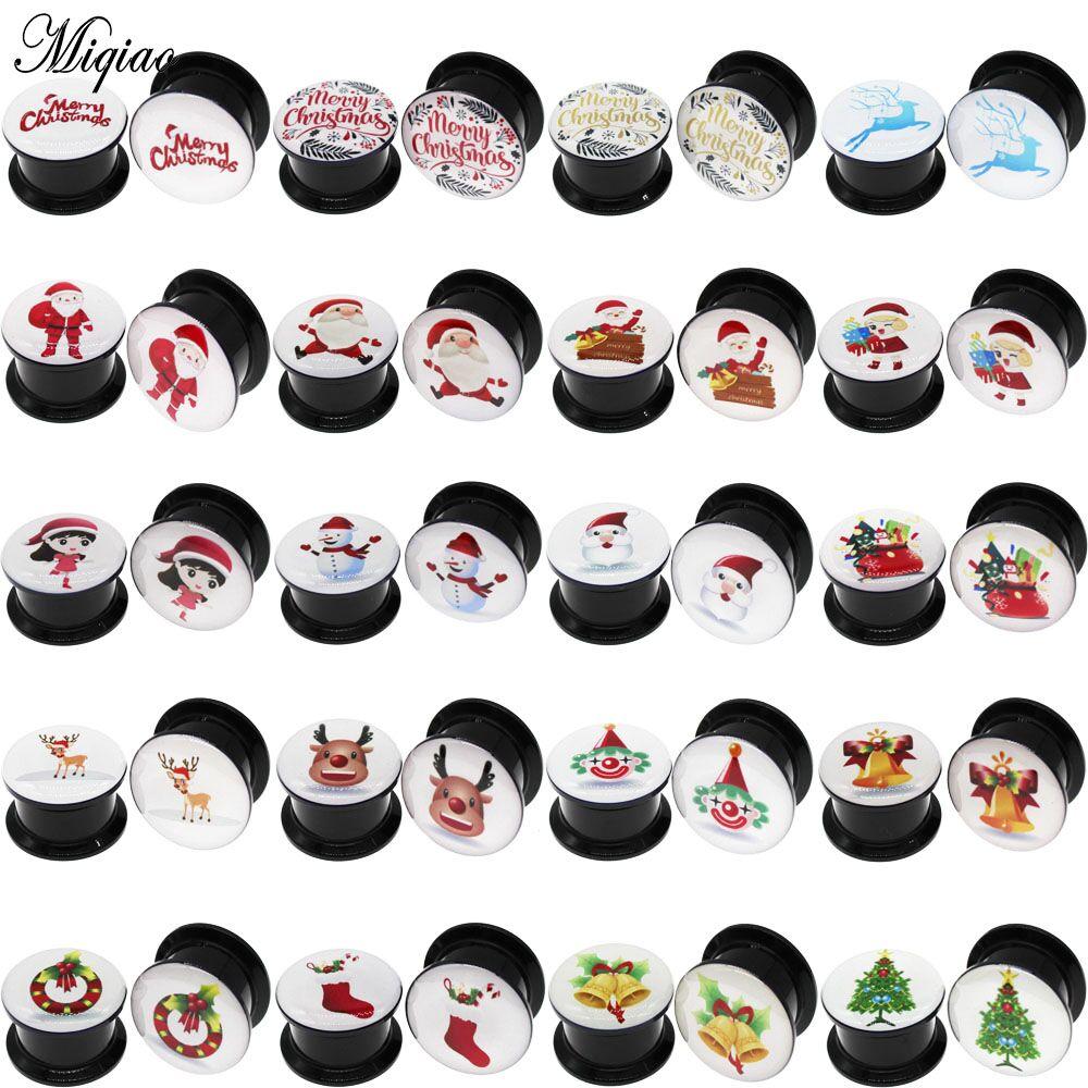 Miqiao 2 шт. ушные манометры, серьги, затычки для ушей, пирсинг, ювелирные изделия, милый Санта-Клаус, снеговик, елка, колокол, рождественские под...