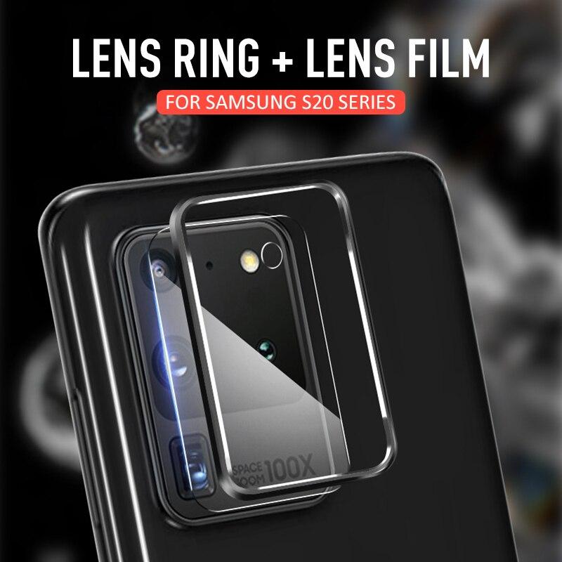 Lente de cámara de vidrio templado para Samsung Galaxy S20 S20Plus S20Ultra, película protectora + anillo de Metal