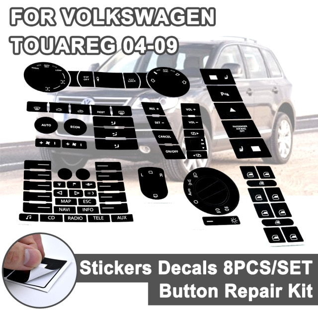 8pcs for VW Steering Wheel Windows Headlight Climate Switch Car Stickers For Volkswagen Touareg 04-09 FWorn Button Repair Decals