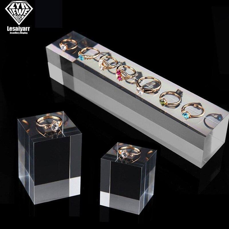 Прозрачный Твердый акриловый демонстрационный блок из плексигласа, подставка, кольцо, серьги, ожерелье, органайзер, счетчик ювелирных изде...