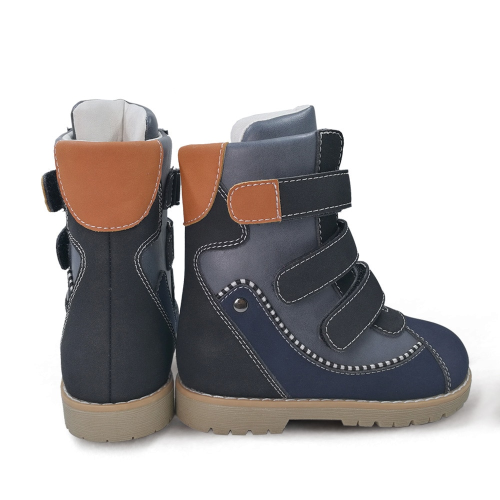 Ortoluckland Kids Boys Boots New Cow Leather Shoes Children Winter Plush Knight Booties Girls Orthopedic Snow Round Toe Footwear enlarge