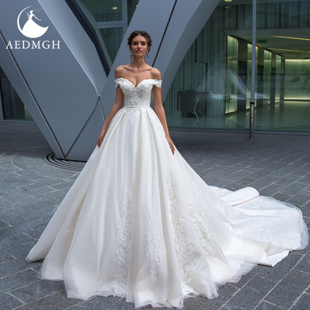 Get Aedmgh Ball Gown Wedding Dresses 2021 Strapless Off The Shoulder Robe De Mariee Beaded Gorgeous Appliques Princess Bridal Dress