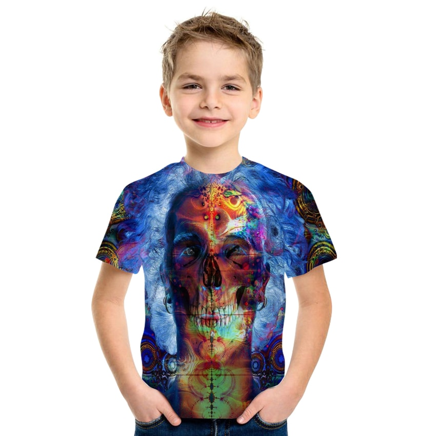 Lnfant And Children's Clothing Summer Trend Boys And Girls Colorful Novelty Pattern 3D Printing Short-Sleeved Children's T-Shirt