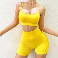 womens tracksuit yoga set sports top gym clothing sleeveless tight fitting sweat absorbent belt chest pad short fitness suit