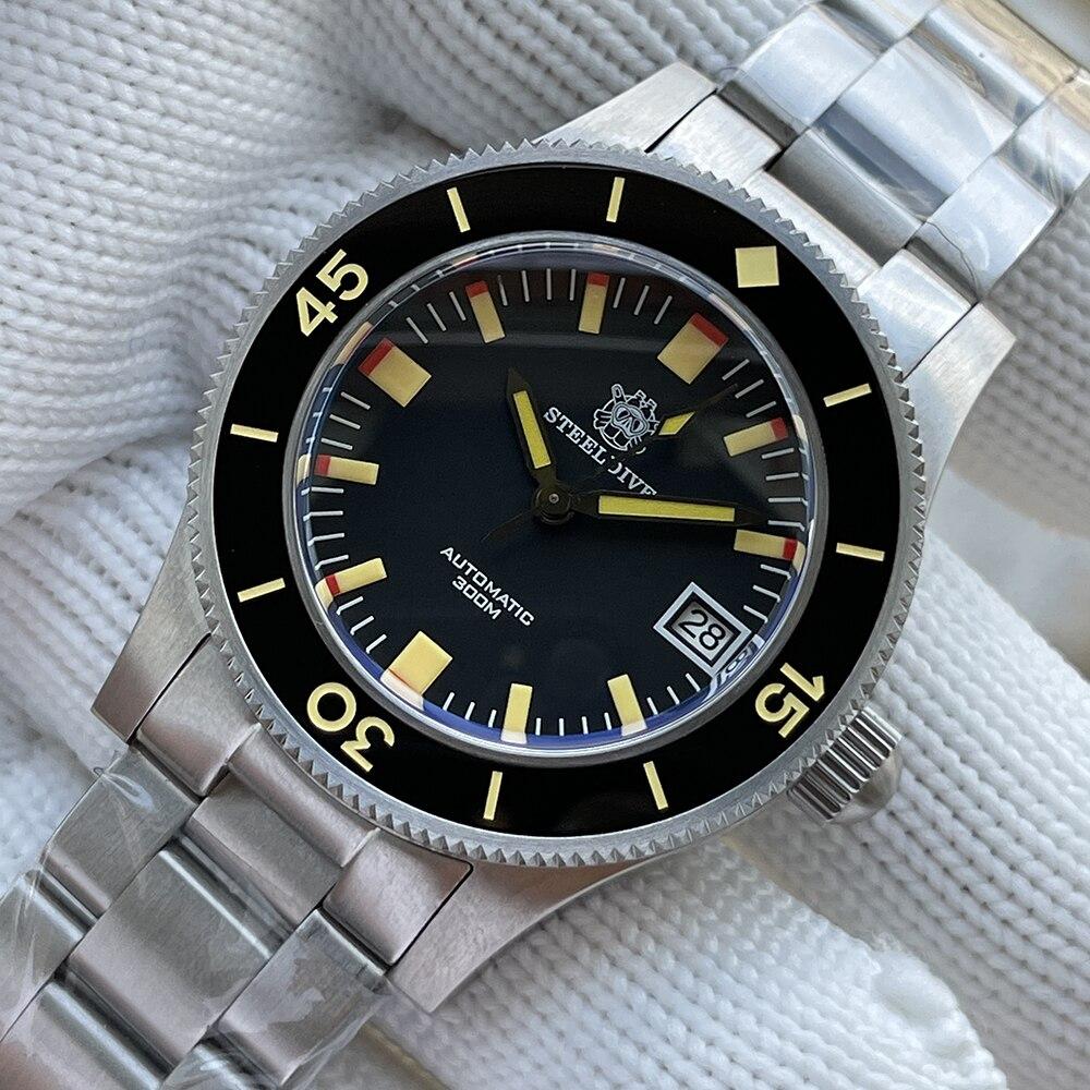 SD1952T جديد وصول سوبر مضيئة الياقوت الزجاج NH35 ساعة أوتوماتيكية رجالي الفولاذ المقاوم للصدأ الميكانيكية الصلب ساعة الغوص