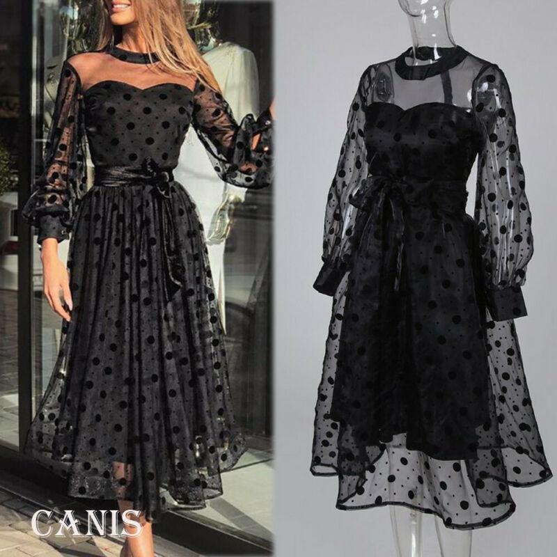 Ladies Elegant One Neck Dresses Women Black Lace Mesh Sleeve Midi Dresses Party Gown Formal Dress Plus Size