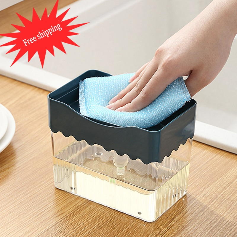 2-em-1 dispensador de bomba de sabão com suporte de esponja dispensador de líquido recipiente de imprensa de mão organizador de sabão cozinha ferramentas de limpeza novo