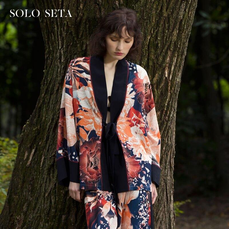 Soloseta اليابانية منامة 100% التوت الحرير leisurewear الطباعة رداء دعوى خارج الإناث يمكن ارتداء طويلة الأكمام فنغ