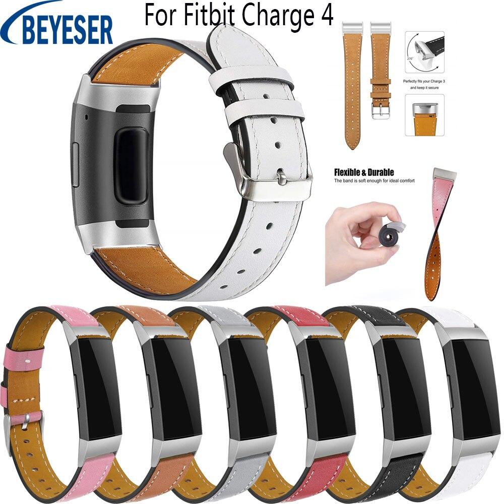 Reemplazo de correa banda de reloj de cuero genuino de 18mm para Fitbit Charge 4 pulsera intercambiable Fitbit Charge 3 Actualización