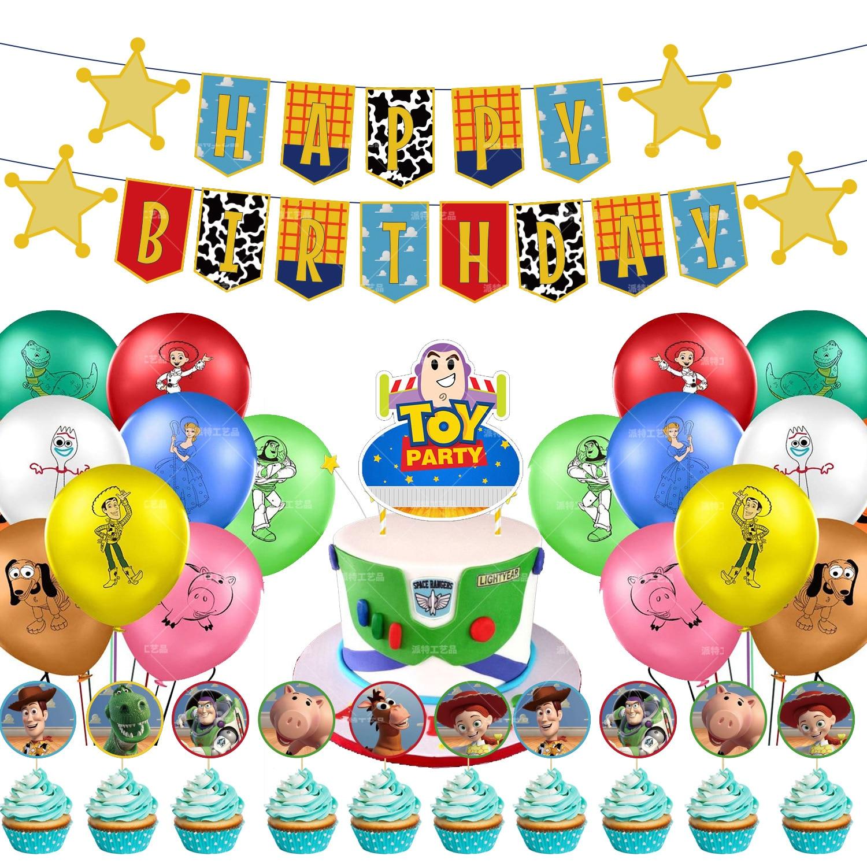 Festa de Aniversário Decoração do Chuveiro do Bebê Conjunto Disney Brinquedo História Hudi Basi Lightyear Tema Látex Balão Banners Crianças Balões Globos 1