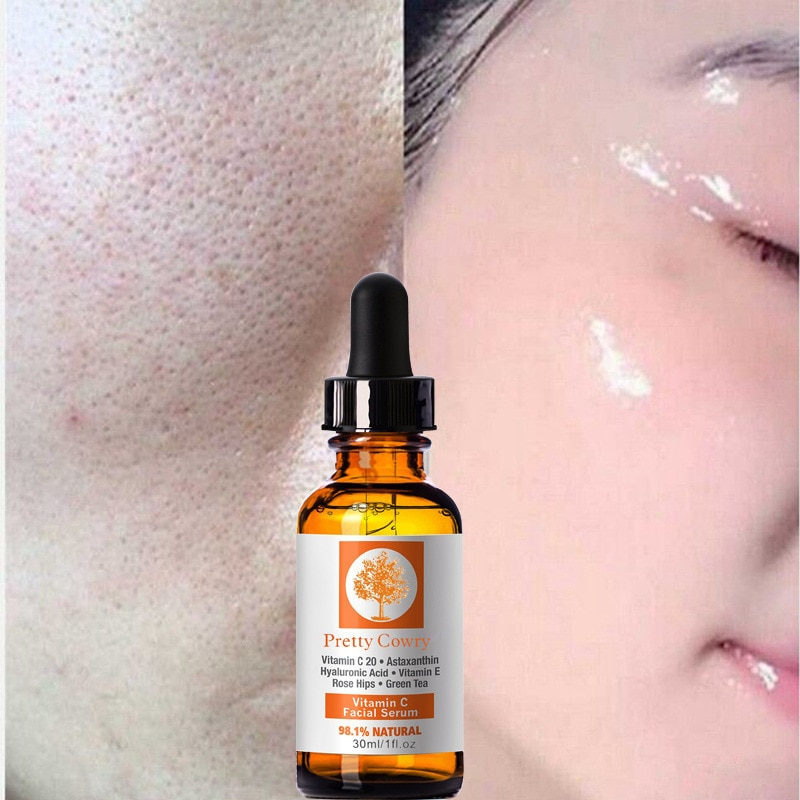 Vitamin C Pure 100% Strong Hyaluronic Acid Anti Aging Wrinkle Skin Tightening Face Serum Nourishes facial skin women Beauty tool