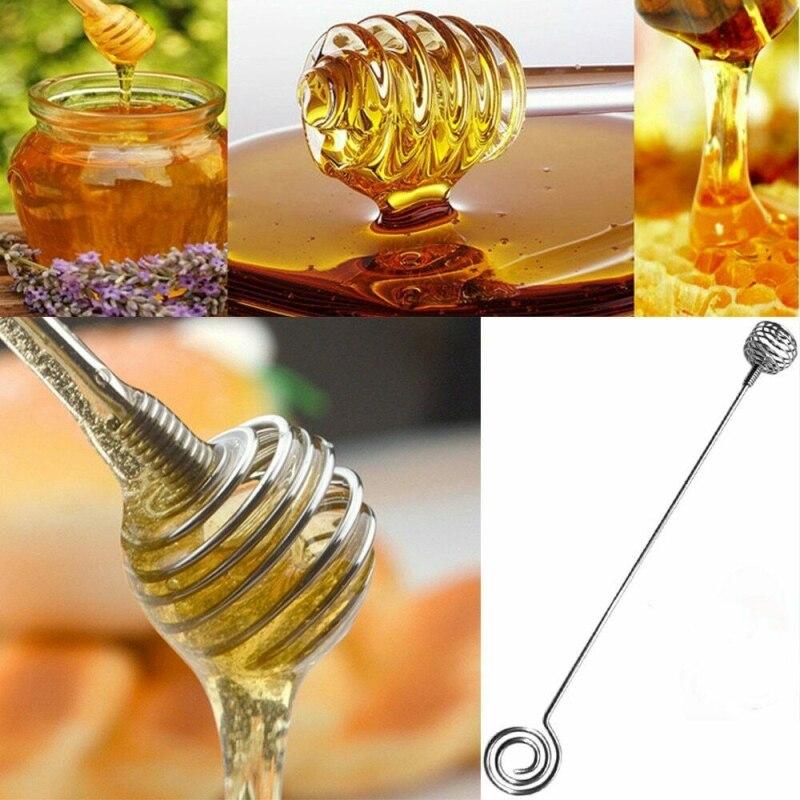Práctico mango largo de Metal cuchara para mezclar cucharón de palo para miel tarro café té de la leche suministros de cocina herramientas