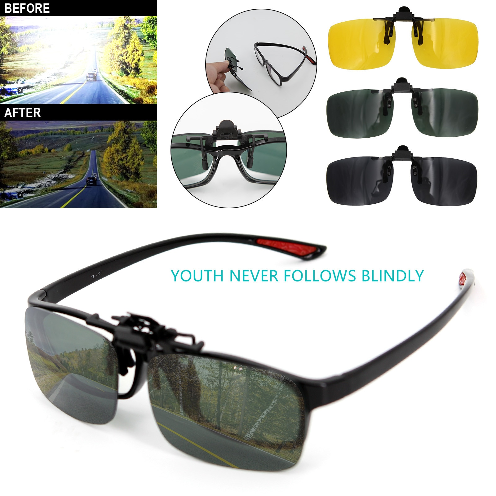 Поляризованные солнцезащитные очки, автомобильные очки с защитой от Уфа, солнцезащитные очки с клипсой ночного видения для вождения, унисе...