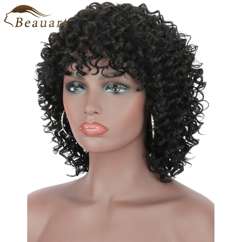 Beauart 100% Human Hair Afro Deep Kinky Curly Full Wig With Bangs Short Natural Fluffy Wigs For Black Women Bob Cut Machine Wigs