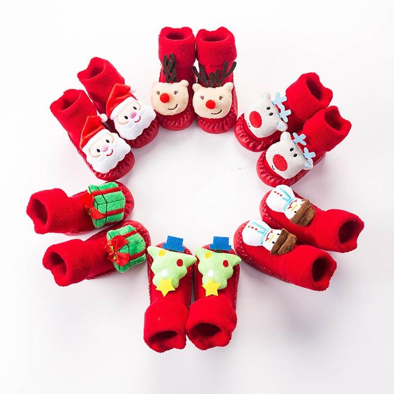 Зимние утолщенные Мультяшные детские Нескользящие напольные ботинки, рождественские носки, детские красные напольные носки для малышей
