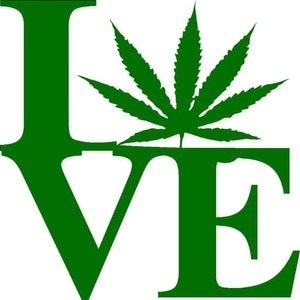 Love With Pot Leaf Decal Or Weed Styling Accessories window Sticker14x14cm
