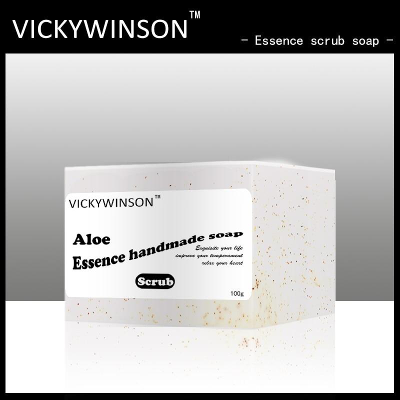 VICKYWINSON эссенция алоэ Скраб Мыло 100g скраб для тела мыло отшелушивающее мыло холодного приготовления мыло ручной работы мыло