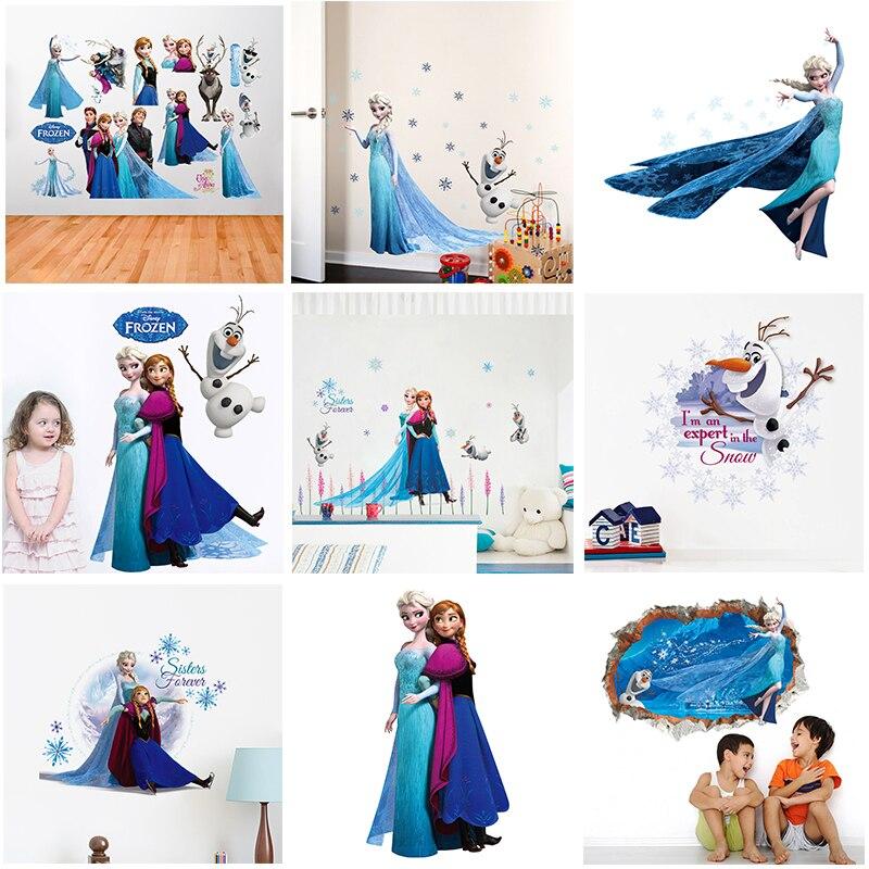 Disney Olaf Frozen princesa pegatinas de pared niños habitación dormitorio accesorios decoración del hogar Elsa Anna Mural calcomanías murales arte DIY carteles