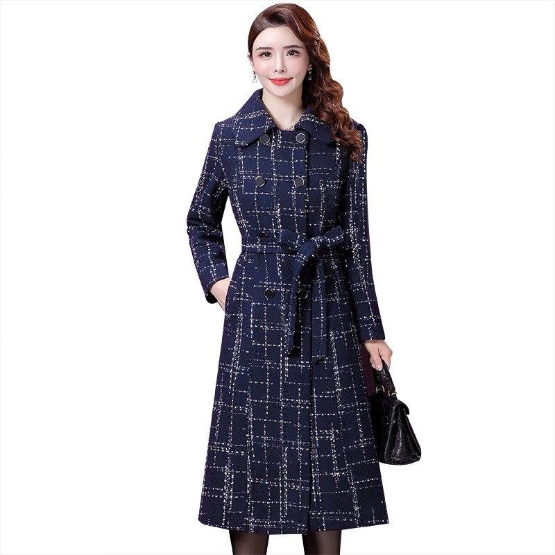 Otoño Invierno nuevo abrigo de cachemir para mujer talla grande 5xl moda Europen clásico abrigo de lana con cuello alto