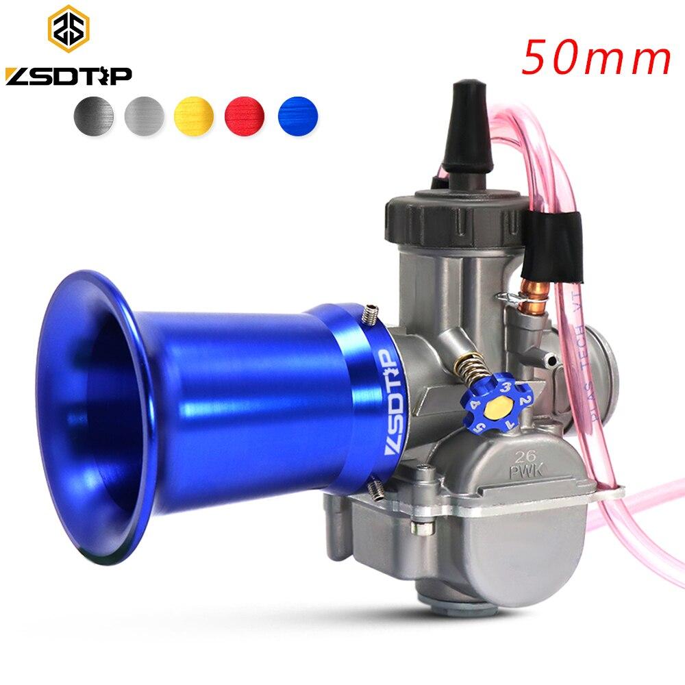 Zsdtrp 50mm copo do filtro de ar do carburador para koso para keihin pwk 21 24 26 28 30mm cor copo vento chifre
