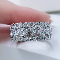 925 sterling silver rings luxury brand 4mm heart shining full diamonds ring for women wedding engagement party fine jewelry