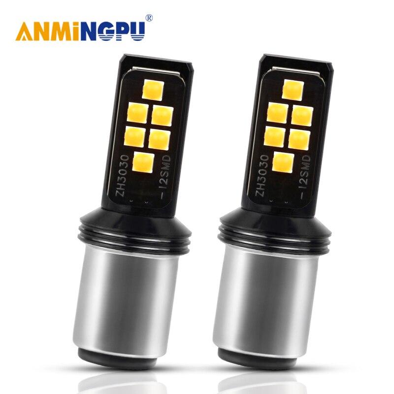 ANMINGPU 2x lámpara de señal 1157 P21/5W BAY15D 3030SMD 1156 BA15S P21W PY21W lámpara Led 12V Luz de marcha atrás de coche señales de giro de la luz de freno