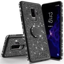 Brillante Glitter Magnetico 360 Anello di Barretta di Caso Per La Galassia S10 S10e S8 S9 Più A5 A7 2018 A6 A8 Nota 8 9 del Diamante di Bling Della Copertura Posteriore