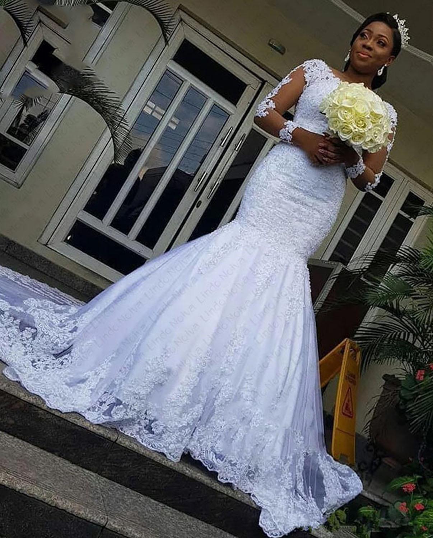 Vestido de novia de sirena para matrimonio, bordado de encaje, manga larga,...