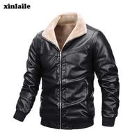 2021 winter new mens leather jacket plus velvet warm leisure motorcycle pu jacket leather coat fashion trend brand clothing
