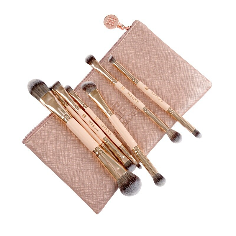 New double-headed eye shadow makeup brush, rose gold 7 makeup brush set, portable eye brush for beginners