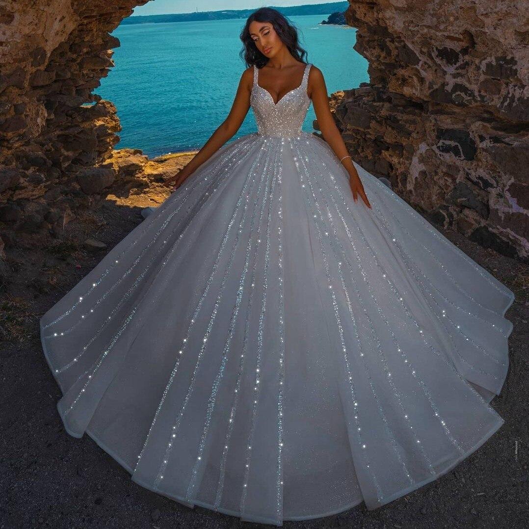 فستان زفاف مرصع باللؤلؤ الكريستالي ، مقاس كبير ، في دبي ، مع أحزمة ، سحاب خلفي من الأورجانزا