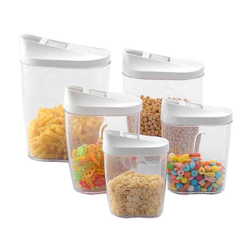 Caja de almacenamiento de alimentos de 5 uds, conjunto de contenedores transparentes con tapas para cocina, alimentos sellados, aperitivos, frutos secos, tanque de almacenamiento de cereales, caja C