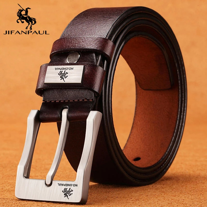 JIFANPAUL Genuine Leather For Men High Quality Black Buckle Jeans Belt Cowskin Casual Belts Business