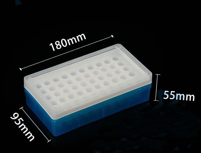 Diâmetro de furo de 1.1mm. Caixa de armazenamento azul do suporte do tubo de 50 furos para o centrifugador 1.5ml