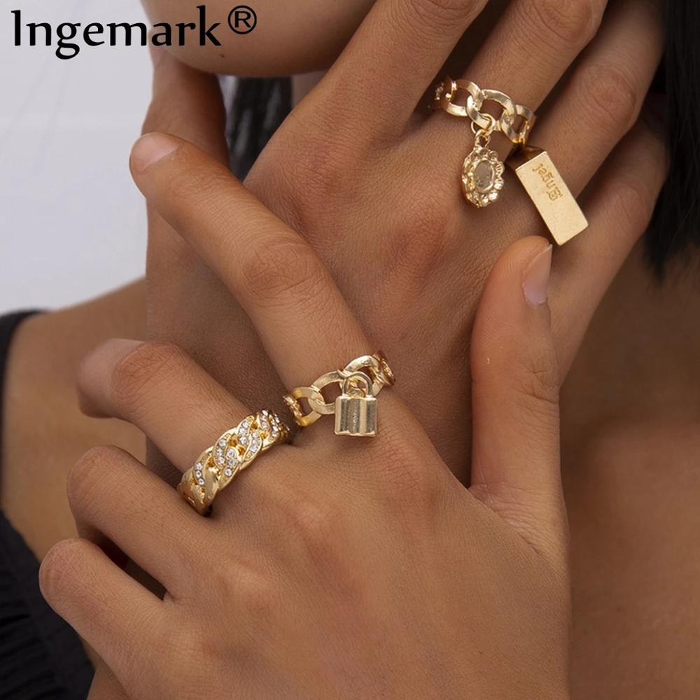 aliexpress - Boho Full Crystal Summer Wedding Rings Women Punk Vintage 2020 Circle Love Lock Flower Pendant Fashion Ring Bijoux Jewelry Gift