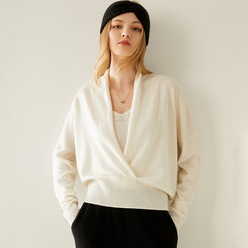 Tailor Shop Custom Made Spring and Autumn New Women's Pure Cashmere V-neck Fashion Sweater Short Pullover Sweater enlarge