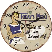 WONZOM Todays Menu Modern Style Modern Wooden Cardboard Clock,Round Wall Clock for Home Decor Living Room 6-16 inch