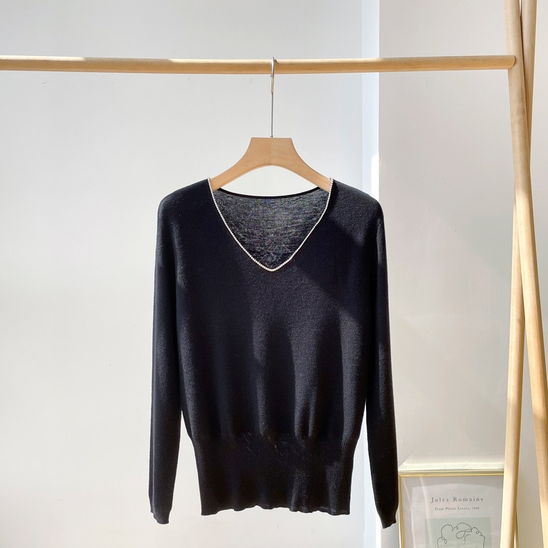 Shuchan Diamonds Wool Knit Sweater Pullover Autumn Winter New 2021 Office Lady V-Neck Long Sleeve A-straight  Womens Sweaters enlarge