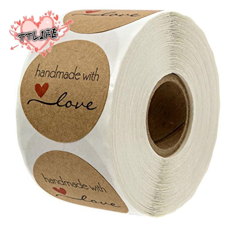 500 etiquetas redondas dos pces etiqueta de empacotamento feita à mão do papel de embalagem de kraft para o saco de dragee dos doces