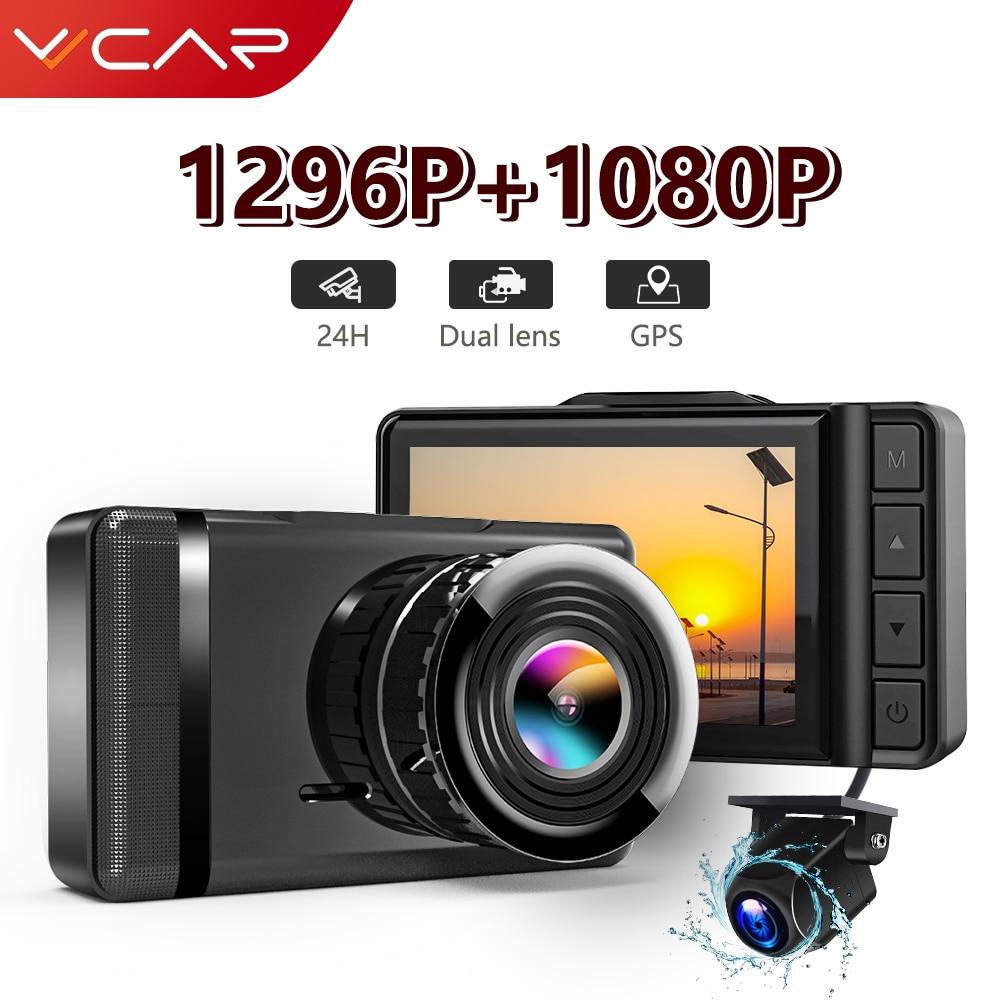 Видеорегистратор VVCAR F3, Автомобильный регистратор с камерой заднего вида 1296P, GPS, Full HD 1080P