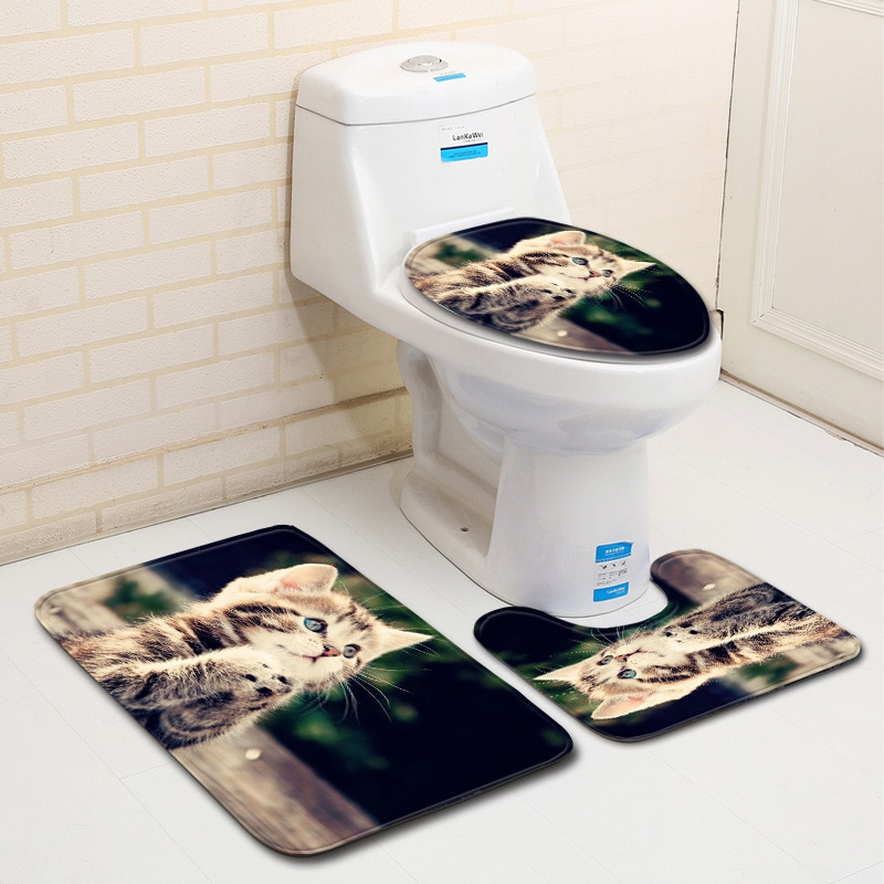 Alfombrilla de suelo de baño con Gato bonito, alfombrilla de baño de tres piezas, alfombra antideslizante para baño, alfombrilla de franela para Baño