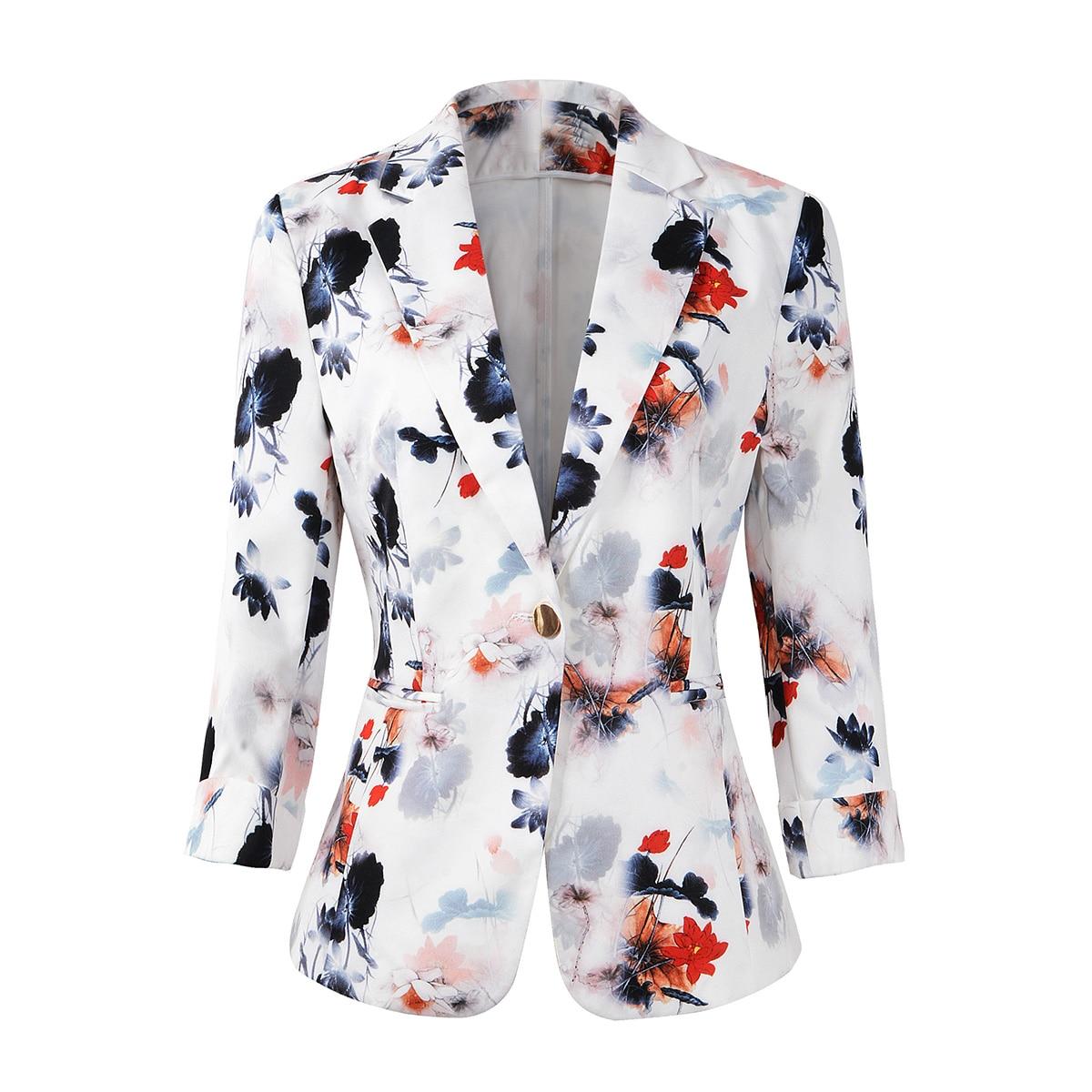 Women's 3/4 Sleeve Lightweight Office Work Suit Jacket Boyfriend Blazer Chic Lady Casual Jacket
