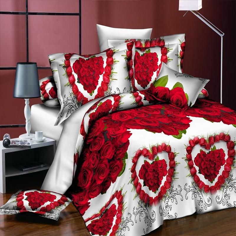 طقم أغطية سرير بطبعة زهور وماندالا ، طقم سرير مطبوع ، حب ، ورد ، للزفاف ، مع ملاءة وغطاء وسادة ، مقاس كوين ، 4 قطعة/المجموعة/مجموعة
