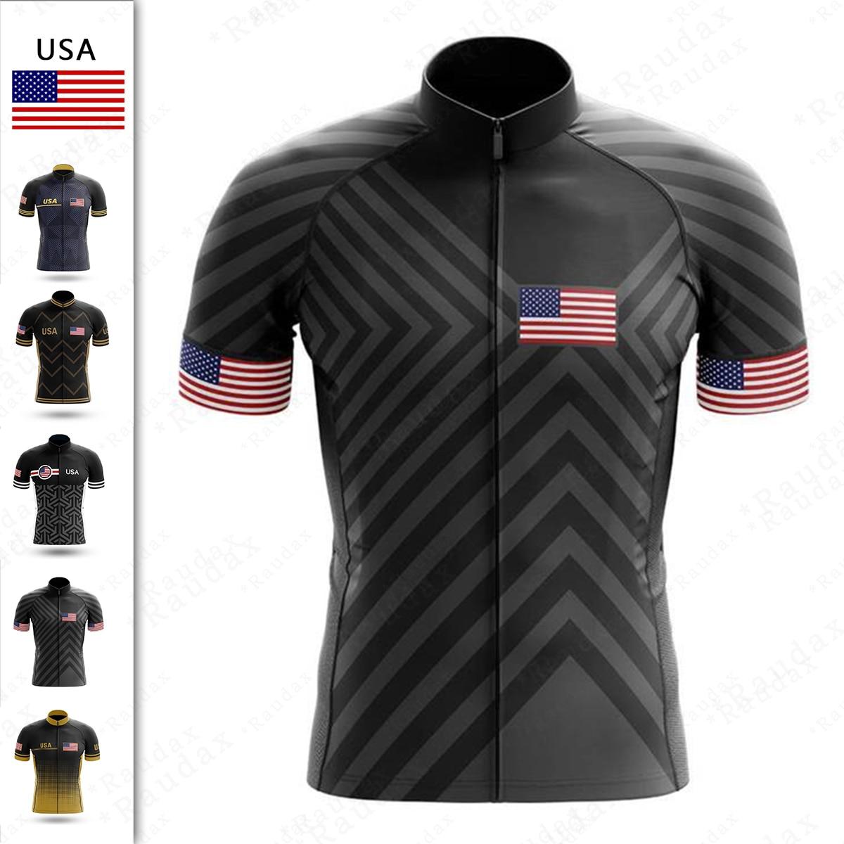 Camiseta De Ciclismo con bandera De EE. UU. Para hombre, ropa profesional...