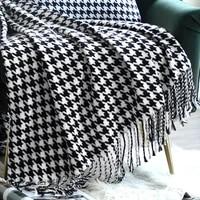 modern simple black and white blanket home decoration sofa rugs bedroom model room bedside carpet bed flag blankets