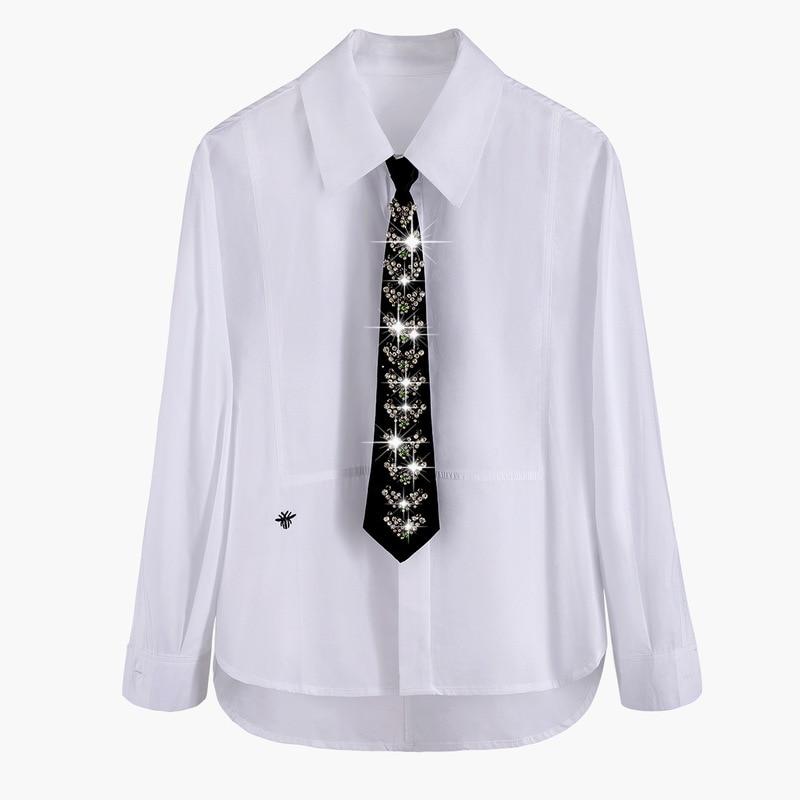 Novo sentimento caro pesado colisão cor diamante gravata bordados camisa de manga comprida s1096 coringa cor pura