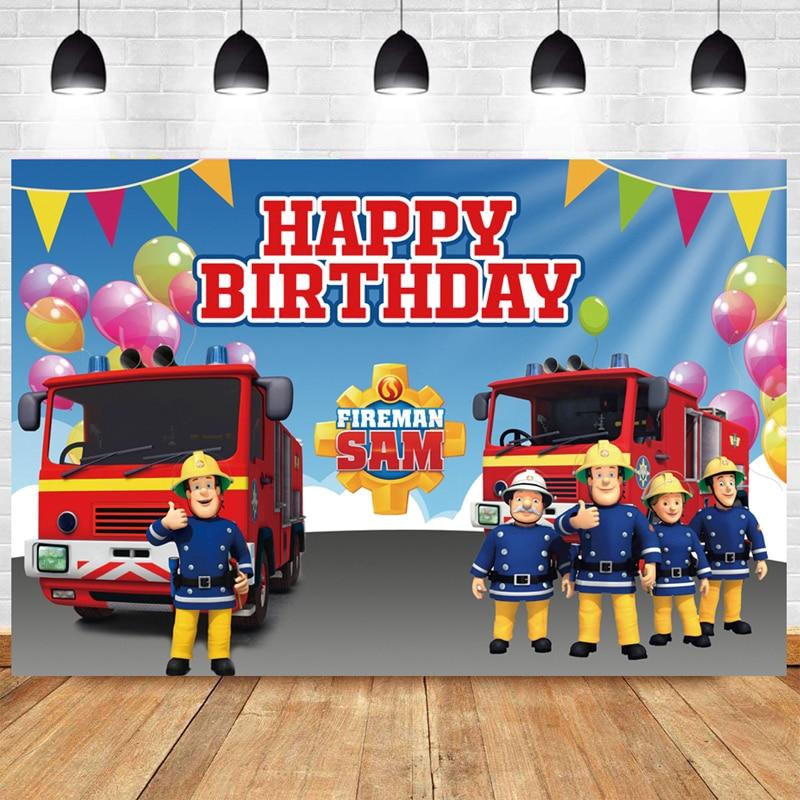 Fireman Sam Photo Backdrop Boys Happy Birthday Party Station Photograph Background Banner Decoration enlarge